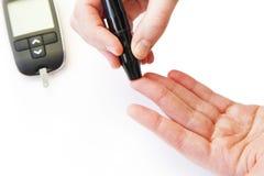 Blood glucose test medical photo. On white background Stock Photo