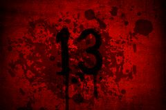 Blood and gore Thirteen Friday with 13th number Stock Photo