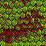 Blood on green dragon skin. A large image of green shiny dragon scales or hide splashed with red blood Stock Photography