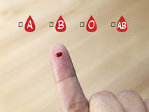 Blood group testing with blood group icon.  Stock Photos
