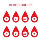 Blood group type icon flat web sign symbol logo label set Royalty Free Stock Image