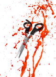 Blood and hair cutting scissors. On white Royalty Free Stock Photo