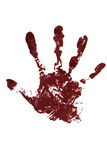 Blood hand print. On the white background Royalty Free Stock Photos