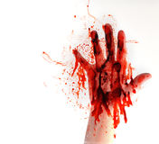 Blood Hand on White Isolated Background Stock Image