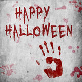Blood Handprint Halloween. A Halloween illustration with a bloody handprint and blood splatter on a grungy background Royalty Free Stock Images
