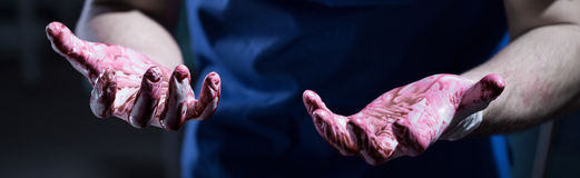 Blood on hands Stock Photography