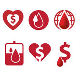 Blood and heart icon with dollar currency Royalty Free Stock Photos