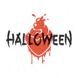 Blood heart vector illustration. Halloween message and blood heart vector illustration Stock Photography