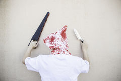 Blood Hooded Murderer Stock Images