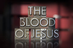 The Blood of Jesus Letterpress. The words The Blood of Jesus written in vintage letterpress type Royalty Free Stock Image