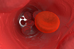 Blood microscopic view. With one cell close up Royalty Free Stock Photo
