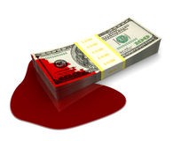 Blood money. 3d illustration of dollars stack splattered with blood Stock Photo