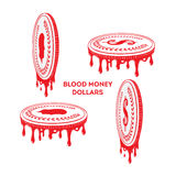 Blood money. dollar coins Royalty Free Stock Photos
