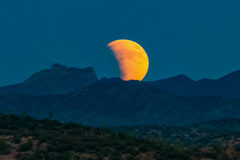 Blood moon, Castle Hot Springs, Sonoran Desert, Arizona. Blood moon lunar eclipse over Castle Hot Springs in the Sonoran Desert of Arizona, USA Royalty Free Stock Images