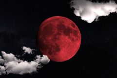 Blood Moon - This is a picture of the Moon during the Lunar Eclipse in istanbul Turkey on July 27, 2018 stock photos