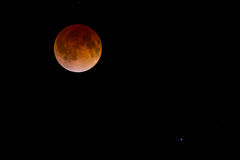 Blood Moon and Stars. Red Blood Moon caused by total lunar eclipse. Many visible faint stars. The bright star in the lower right is Spica, the brightest star in stock photos