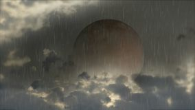Blood Moon under the rain. Condensed sequence of a Moon eclipse known as Blood Moon, with clouds and falling rain stock illustration