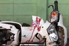 Blood motorcycle mudguard. Stock Photos