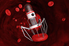 Blood Nano Robot with Camera, Claws and Needle over Blood Cell. Stock Photos