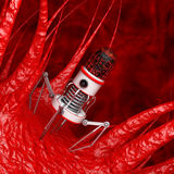 Blood Nano Robot with Camera, Claws and Needle over Virus, Bacte Royalty Free Stock Photography