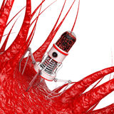 Blood Nano Robot with Camera, Claws and Needle over Virus, Bacte Stock Photos