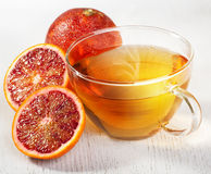 Blood Orange And Cup Of Tea Stock Photo