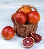 Blood Orange in Basket Stock Photos