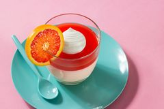 Blood Orange Citrus Panna Cotta on Pink Background. Minimalist shot of citrus panna cotta topped with a fresh blood orange gelee/jelly and a dollop of whipped Royalty Free Stock Photo