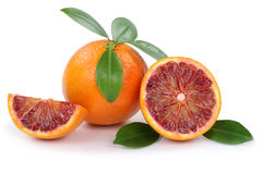 Blood orange fruit oranges slice slices isolated on white Royalty Free Stock Photo