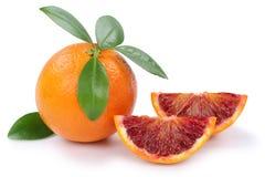 Blood orange fruit slice slices isolated on white Stock Photos