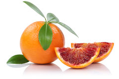 Blood orange fruit slice slices with leaves  on white. Blood orange fruit slice slices with leaves  on a white background Stock Photos