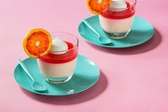 Blood Orange Panna Cotta Dessert on Pink Background Royalty Free Stock Image