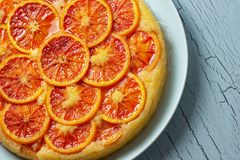 Blood Orange Ricotta Cornmeal Cake Close Up stock photos