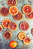 Blood Orange Slices on Metal Background Royalty Free Stock Image