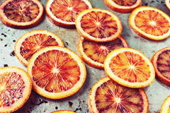Blood Orange Slices on Metal Background Stock Photo