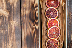 Blood orange spelt cake. Healthy and delicious spelt cake with blood oranges Royalty Free Stock Photo