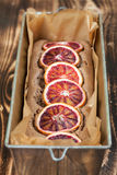 Blood orange spelt cake. Healthy and delicious spelt cake with blood oranges Stock Photos