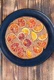 Blood orange spelt cake. Upside down spelt cake with blood oranges stock images