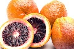 Blood oranges. Citrus fruit in wicker basket group fresh stock photos