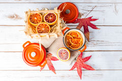 Blood oranges and casseroles Royalty Free Stock Photo
