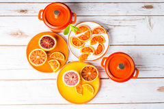 Blood oranges and casseroles Royalty Free Stock Images