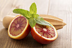Blood oranges with fresh mint Stock Photo