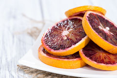Blood Oranges on wood. Fresh Blood Oranges on wooden background Royalty Free Stock Photo
