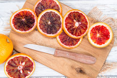 Blood Oranges on wood Stock Image