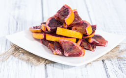 Blood Oranges on wood Royalty Free Stock Photos