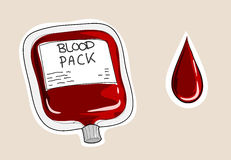 Blood Pack. A hand drawn vector illustration of a blood pack and a drip of blood, isolated on a simple background (all objects are on their own separate groups Royalty Free Stock Photos