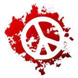Blood peace. Peace symbol reversed out of a blood spill Royalty Free Stock Photos