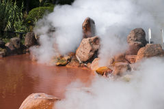 (Blood pond Hell) One of nine burning hells hot spring (on sen) in Beppu, Oita, Japan in autumn Stock Image
