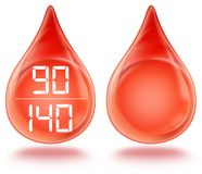 Blood pressure. Blood and normal blood pressure on the blood drop Royalty Free Stock Images