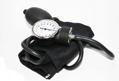 Blood pressure. Professional blood pressure device on white background Stock Photo